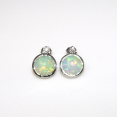 5.18 Carat Ethiopian Opal And Diamond Earring In 14k White Gold