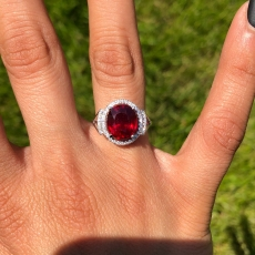 5.23 Carat Madagascar Ruby And Diamond Halo Ring In 14k White Gold
