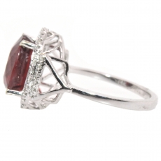 5.23 Carat Madagascar Ruby And Diamond Ring In 14k White Gold