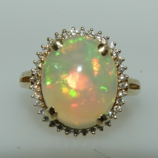 5.26 Carat Ethiopian Opal And Diamond Ring In 14k Yellow Gold