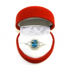 5.26 Carat Natural Camboadian Blue Zircon And Diamond Ring In 14k White Gold