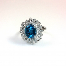 5.29 Carat Natural Cambodian Zircon And Diamond Cocktail Ring In 14k White Gold
