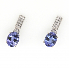 5.32 Carat Tanzanite And Diamond Earring In 14k White Gold