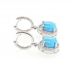 5.34 Carat Turquoise And Diamond Earring In 14k White Gold