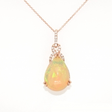 5.35 Carat Ethiopian Opal With Diamond Pendant In 14k Rose Gold