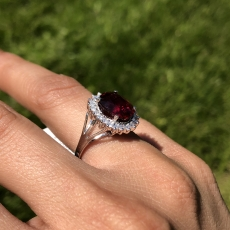 5.41 Carat Madagascar Ruby And Diamond Ring In 14k White Gold