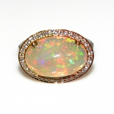 5.42 Carat Ethiopian Opal And Diamond Ring In 14k Tri Tone (white/yellow/ Rose) Gold