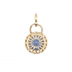 5.42 Carat Nigerian Sapphire With Diamond Pendant In 14k Yellow Gold