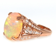 5.44 Carat Ethiopian Opal And Diamond Ring In 14k Rose Gold