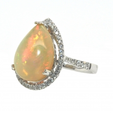 5.44 Carat Ethiopian Opal And Diamond Ring In 14k White Gold
