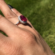 5.49 Carat Madagascar Ruby And Diamond Ring In 14k White Gold