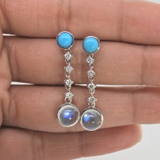 5.65 Total Carat Weight Turquoise, Rainbow Moonstone, and Diamond Earring In 14k White Gold