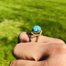 5.72 Carat Turquoise And Diamond Ring In 14k yellow Gold