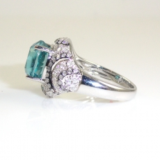 5.73 Carat  Carat Blue Zircon And Diamond Ring In 14k White Gold