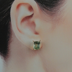 5.75 Carat Green Amethyst Stud Earring In 14k Rose Gold