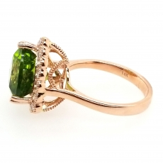 5.76 Carat Peridot And Diamond Ring In 14K Rose Gold