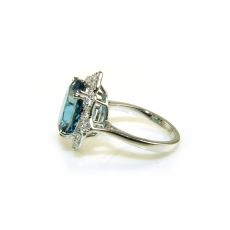 5.8 Carat London Blue Topaz And Diamond Ring In 14K White Gold
