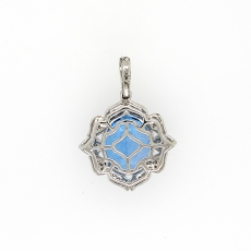 5.85 Carat Swiss Blue Topaz And Diamond Pendant In 14K White Gold