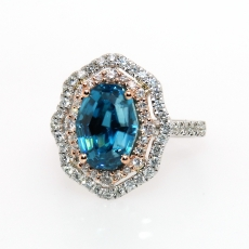 5.86 Carat Blue Zircon And Diamond Ring In 14k White Gold