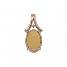 5.87 Carat Ethiopian Opal With Diamond Pendant In 14k Rose Gold