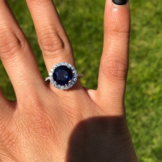 5.89 Carat Nigerian Blue Sapphire And Diamond Halo Ring In 14k White Gold