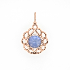 5.91 Carat Nigerian Sapphire With Diamond Pendant In 14k Rose Gold