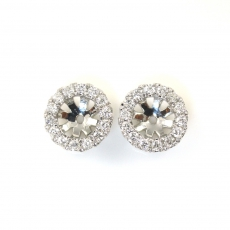 5mm Round Diamond Earring Jacket In 14k White Gold