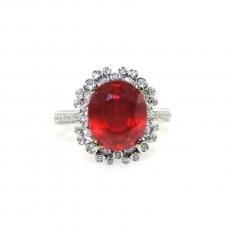 6.07 Carat Madagascar Ruby And Diamond Ring In 14k White Gold