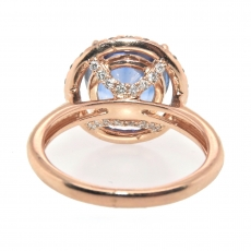 6.13 Carat Nigerian Blue Sapphire And Diamond Halo Ring In 14k Rose Gold