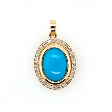6.25 Carat Turquoise  And  Diamond Pendant In 14k Yellow  Gold