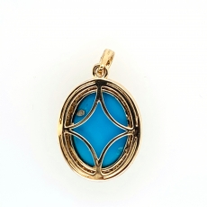 6.25 Carat Turquoise And Bezel Set diamond Pendant In 14K Yellow  Gold