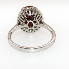 6.39 Carat Star Ruby And Diamond Ring In 14k White Gold