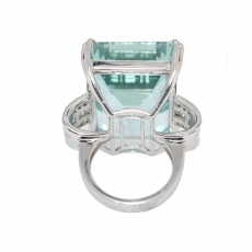 65.04 Carat Natural Aquamarine With Diamond Cocktail Ring In 14k White Gold