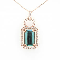 6.60 Carat Indicolite Tourmaline With Diamond Pendant In 14k Rose Gold