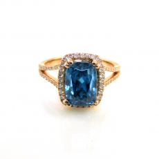 6.65 Carat Blue Zircon And Diamond Ring In 14k Rose Gold