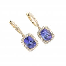 6.70 Carat Tanzanite And Diamond Earring In 14k Gold Gold