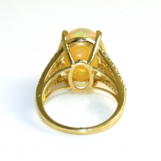 6.85 Carat Ethiopian Opal And Diamond Ring In 14k Yellow Gold