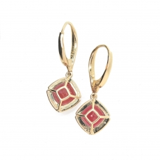 6.99 Carat Madagascar ruby earring in 14k yellow gold