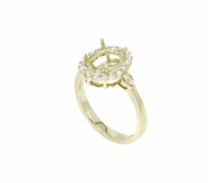 6x4mm Ring Oval Semi Mount In 14k Gold  ( Rso1585 )