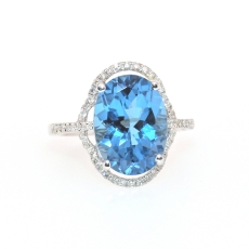 7.02 Carat Blue Topaz and Diamond Ring in 14K White Gold