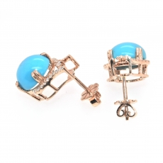 7.18 Carat Turquoise And Diamond Earring In 14k Rose Gold