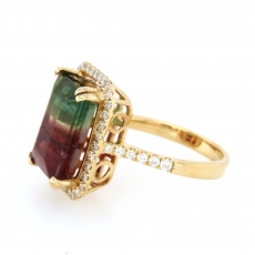 7.28 Carat Watermelon Tourmaline And Diamond Ring In 14k Yellow Gold