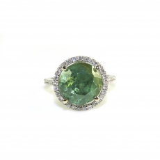 7.30 Carat Aaa Quality Demantoid Garnet  And Diamond Ring In 14k White Gold