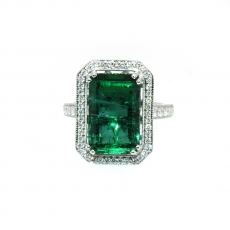 7.44 Carat Emerald And Diamond Ring In 14k White Gold