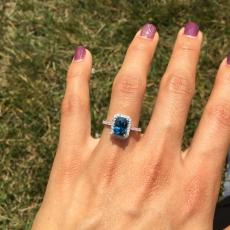 7.45 Carat Cambodian Blue Zircon With Diamond Ring In 14k White Gold