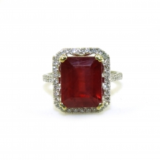 7.78 Carat Madagascar Ruby And Diamond Ring In 14k White Gold