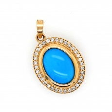 7.84 Carat Kingman Turquoise And Diamond Pendant In 14k Yellow Gold