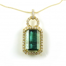7.92 Carat Green Tourmaline And Diamond Pendant In 14k Yellow Gold (online Exclusive)