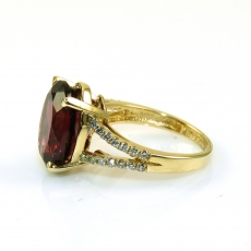 7.95 Carat Rhodolite Garnet With Diamond Ring In 14k Yellow Gold