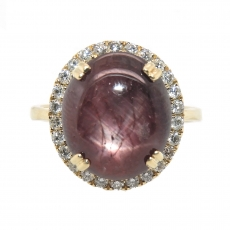 7.95 Carat Star Ruby And Diamond Halo Ring In 14k Yellow Gold